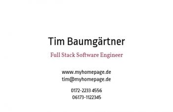 Start-Visitenkarte Typo
