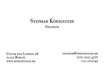 Werbung & Design-Visitenkarte Classic