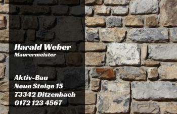 Baufirma-Visitenkarte Mauer/Stein