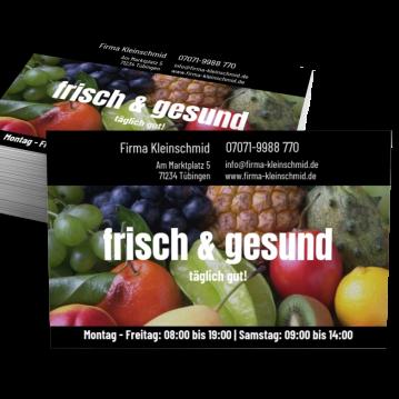 Obst & Gemüse-Visitenkarte Shop Here
